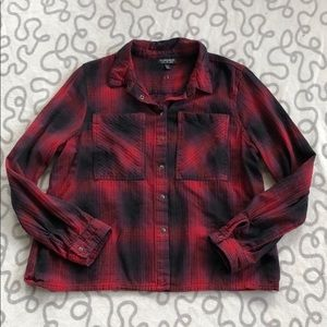 Topshop Plaid Cropped Flannel Top